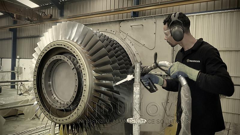 Limpieza criogénica en rotor de turbina de gas
