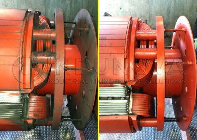 Limpieza criogénica en generador eléctrico
