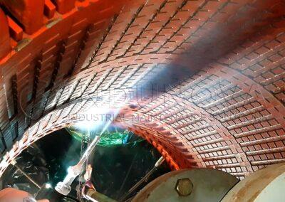 Limpieza con hielo seco en estator de generador eléctrico