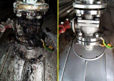 Limpieza criogénica en válvula de depósito industrial