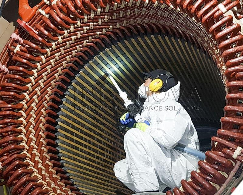 Limpieza criogenica en generadores